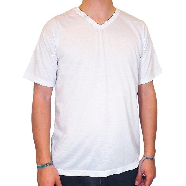 a31f881350 camiseta lisa branca gola V ideal para sublimação poliéster juvenil ...