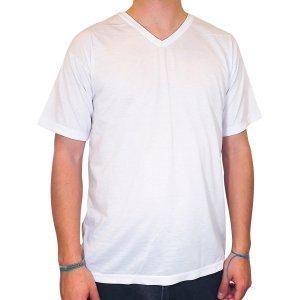 Camiseta Branca Gola V sublimação 100% Poliéster XG