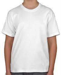 Camiseta Lisa Branca Sublimação 100% Poliéster JUVENIL 10-12-14-16 anos
