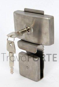 Trava de Segurança  Porta de Correr de Vidro - Chave tetra - Aço Inox