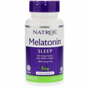 Melatonina NATROL Time Release (Liberação Lenta) 5 MG - 100 tabletes