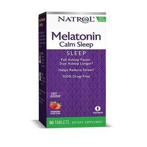 Melatonina Natrol Calm Sleep 6 mg 60 Tabletes com 25 Mg L-Tiamina Sabor Morango