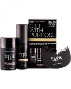 KIT TOPPIK DARK BROWN (CASTANHO ESCURO) - 12 GR+FIBERHOLD+PENTE HAIRLINE