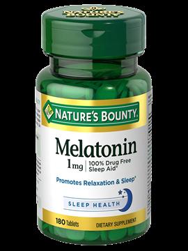 Melatonina 1mg Nature's Bounty 180 cápsulas (Sleep Aid)