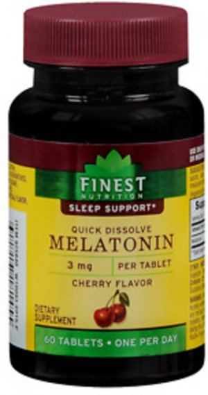 Melatonina Finest Nutrition 3mg 60 Tabletes Quick Dissolve (Rápida Dissolvição) - Sabor Cereja