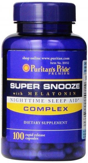Melatonina Puritans Pride Super Snooze 5 mg 100 Cápsulas Rápida Liberação