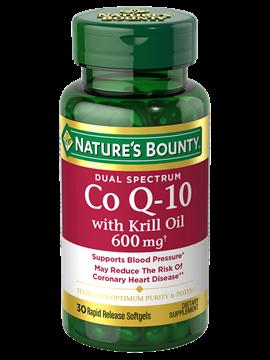 Coenzima Q-10 Natures Bounty 600Mg Dual Spectrum com Óleo de Krill 30 SoftGels (Liberação Rápida)