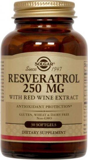 Resveratrol Extrato de Vinho Tinto Solgar 250 Mg 30 SoftGels