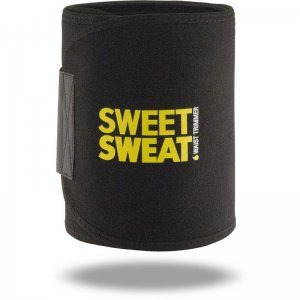 Cinta de Neoprene Sweet Sweat Waist Trimmer Belt - Preto e Amarelo + Sachê Gel de Brinde