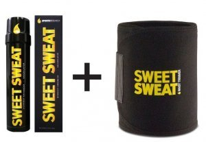 Sweet Sweat Combo, Gel Termogênico Bastão 182Gr + Cinta NeoPrene Amarelo e Preto + Sachê Gel
