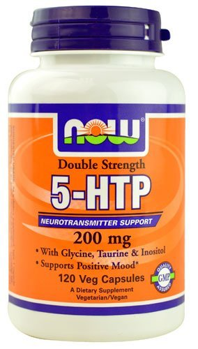 5-HTP Now Double Strength 200 Mg Vegetais 120 Cápsulas c/ Glicídios, Taurina e Inositol