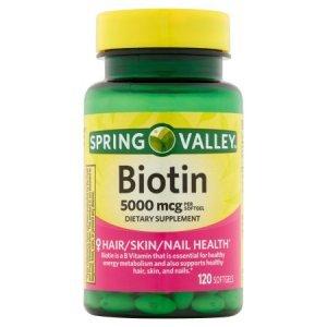 Biotina Spring Valley 5.000mcg 120 Cápsulas