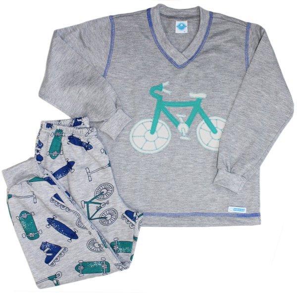 Pijama Masculino Cinza Bike
