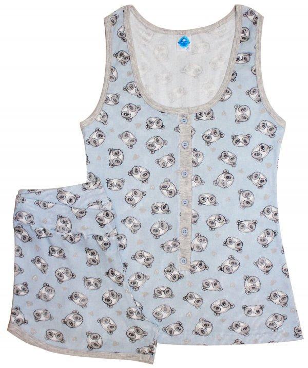 Pijama Urso Azul Canelado