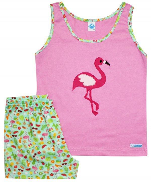 Pijama Flamingo Algodão em Verde