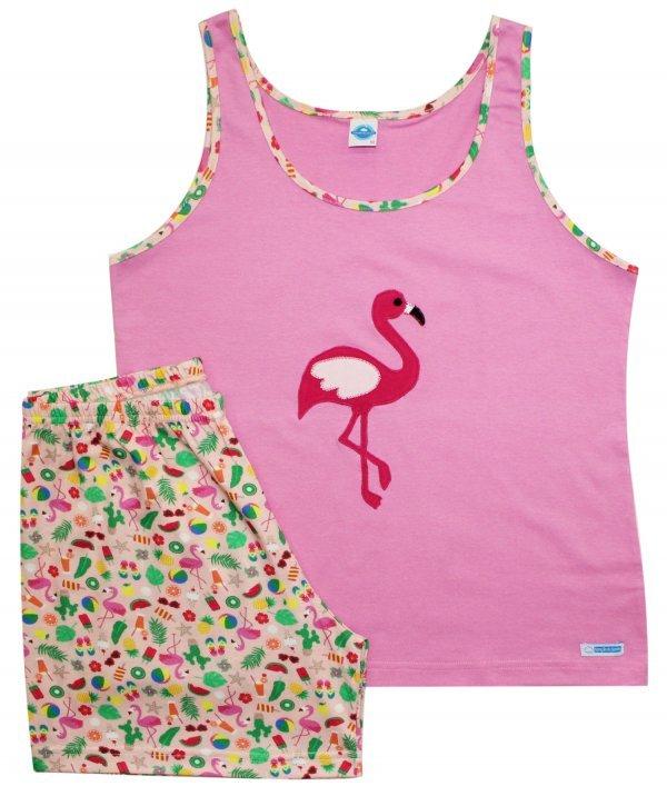 Pijama Flamingo Algodão em Rosa
