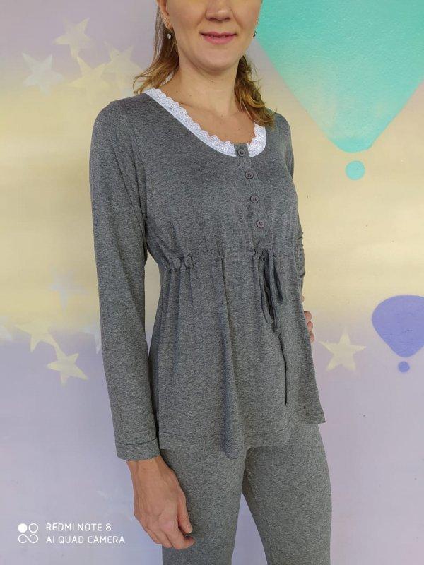 Pijama Visco Cinza
