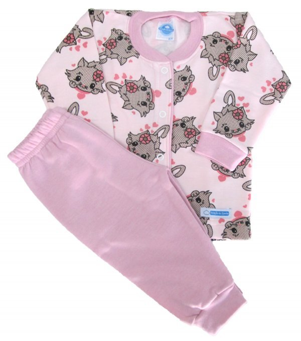 Pijama Gato Rosa Flanela - Tam RN