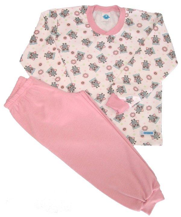 Pijama Corujinha Flanela - Tam 6m, 2 e 12