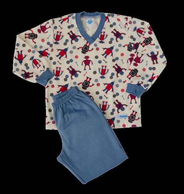 Pijama Masculino Flanelado Robô - Tam 4