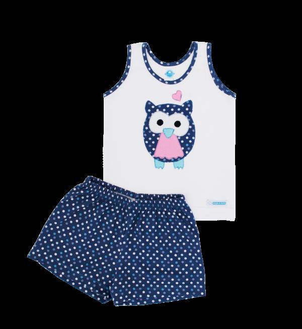 Pijama Feminino Poá Denim Coruja
