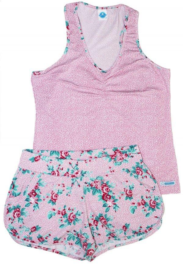 Pijama Floral Rosa - Malha Fria - Curto