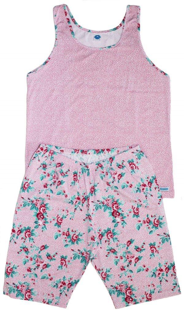 Pijama Floral Rosa - Malha Fria