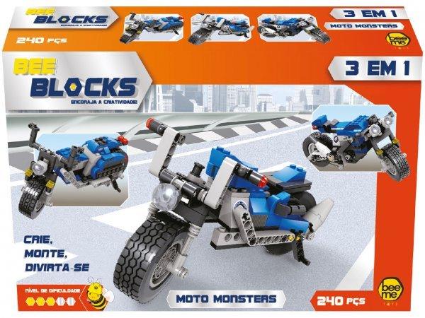 BLOCOS DE MONTAR BEE BLOCKS 3 EM 1 MOTO MONSTERS 240 PEÇAS - BEEME 2574
