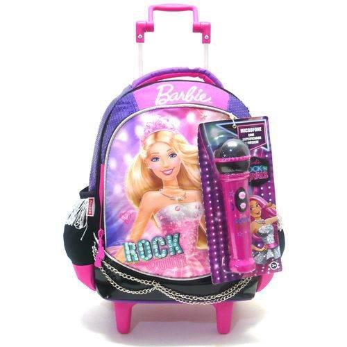 Mochila De Rodinhas Barbie Rock Royals Roxo Microfone Tam M - Sestini 064343-48