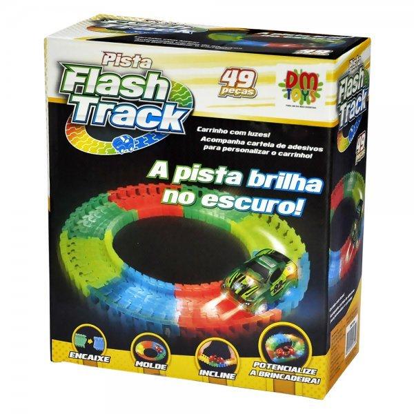 PISTA FLASH TRACK E CARRINHO - DM TOYS DMT5354