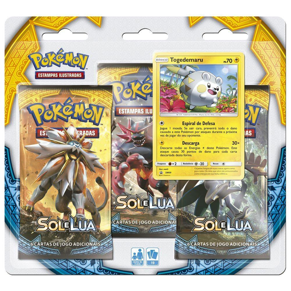 Jogo Pokemon Triplo Blister Sol E Lua Togedemaru - Copag 97433