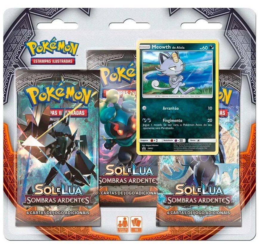 Jogo Pokémon Triplo Blister Sombras Ardentes Meowth - Copag 97460