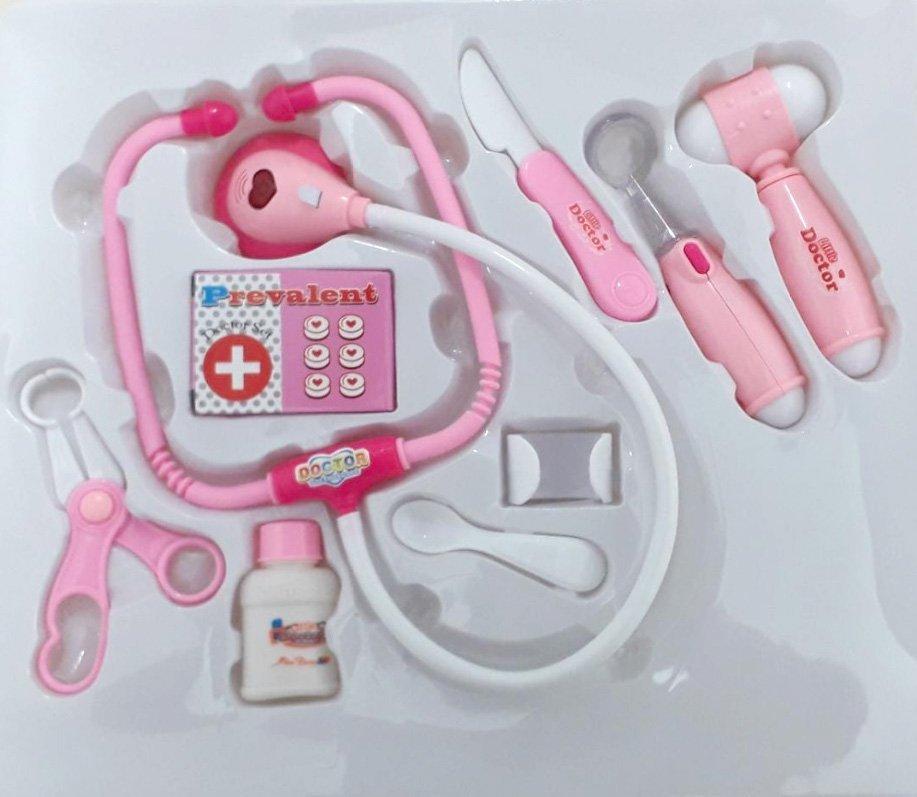 Kit Médica Infantil Rosa Com 9 Peças Som E Luz - Fênix Cmf-540