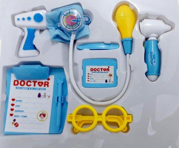 KIT MÉDICO INFANTIL AZUL COM 8 PEÇAS COM LUZ - FÊNIX CMF-540