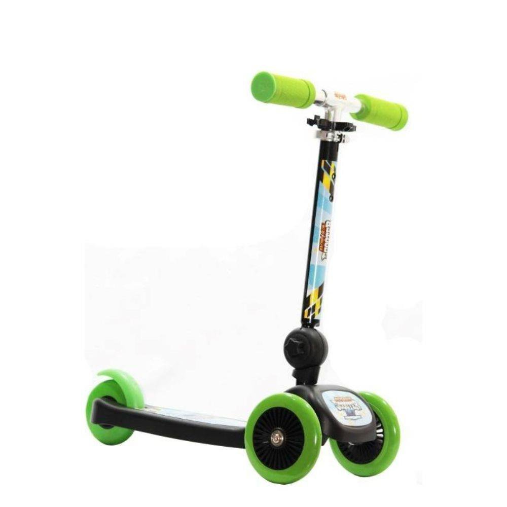 Patinete Scooter Net Mini Racing Club Preto Com Verde - Zoop Toys Zp00104