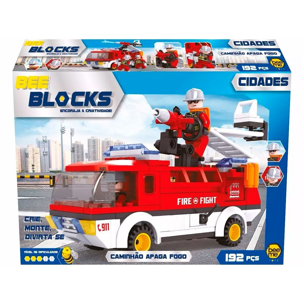Blocos De Montar 192 Peças Caminhão Apaga Fogo - Beeme 2537