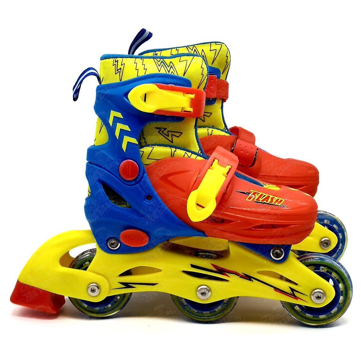 Kit Patins Infantil Roller E Acessórios De Proteção Azul E Amarelo 28-31 - Bbr R2629