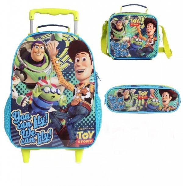 Kit Mochila De Rodinhas Infantil Toy Story + Lancheira + Estojo