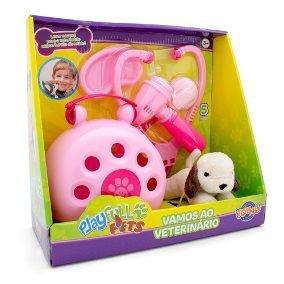 Kit Veterinário Com Maleta Playfull Pets Rosa - Toyng 37168