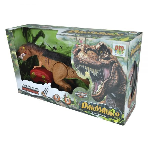 Dinossauro Com Controle Remoto Tiranossauro Com Som - Dm Toys Dmt5399