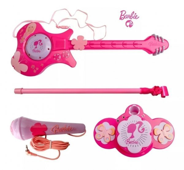 Guitarra Musical E Microfone Com Pedestal Rosa Barbie - Imc Ref 783959