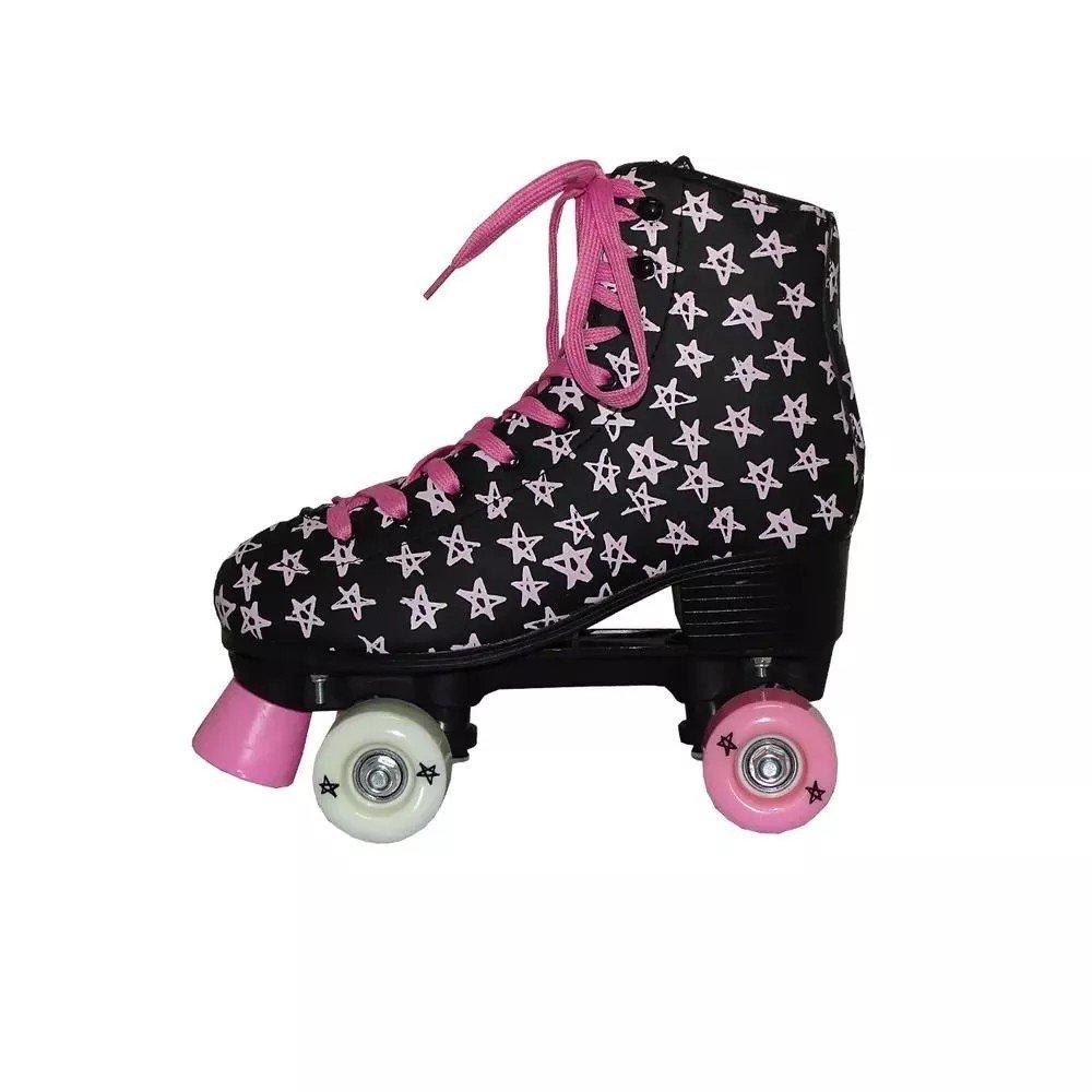 Patins Roller Stars Preto Tam 35 - Dm Toys Dmr5496t35