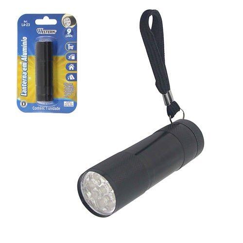 Lanterna De Alumínio 9 Leds Preta - Western La-23