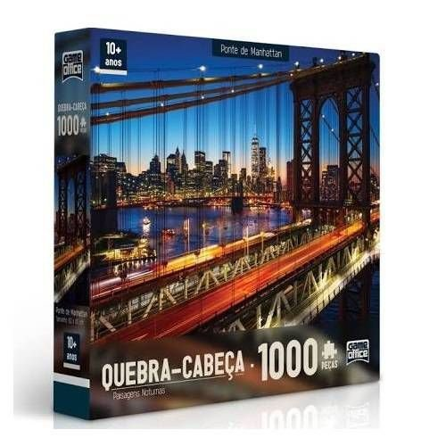 Quebra Cabeça 1000 Pcs Paisagens Noturnas Ponte De Manhattan - Toyster 2308