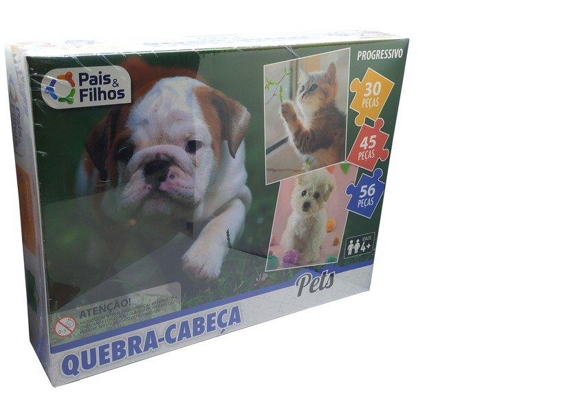 Quebra Cabeça Progressivo 30/45/56 Peças Pets Pais E Filhos