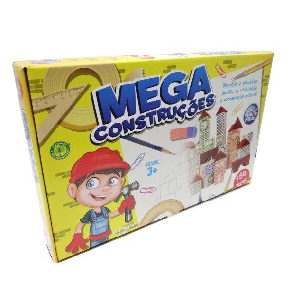 Mega Construções 150 Peças Em Madeira - Pais E Filhos 7359
