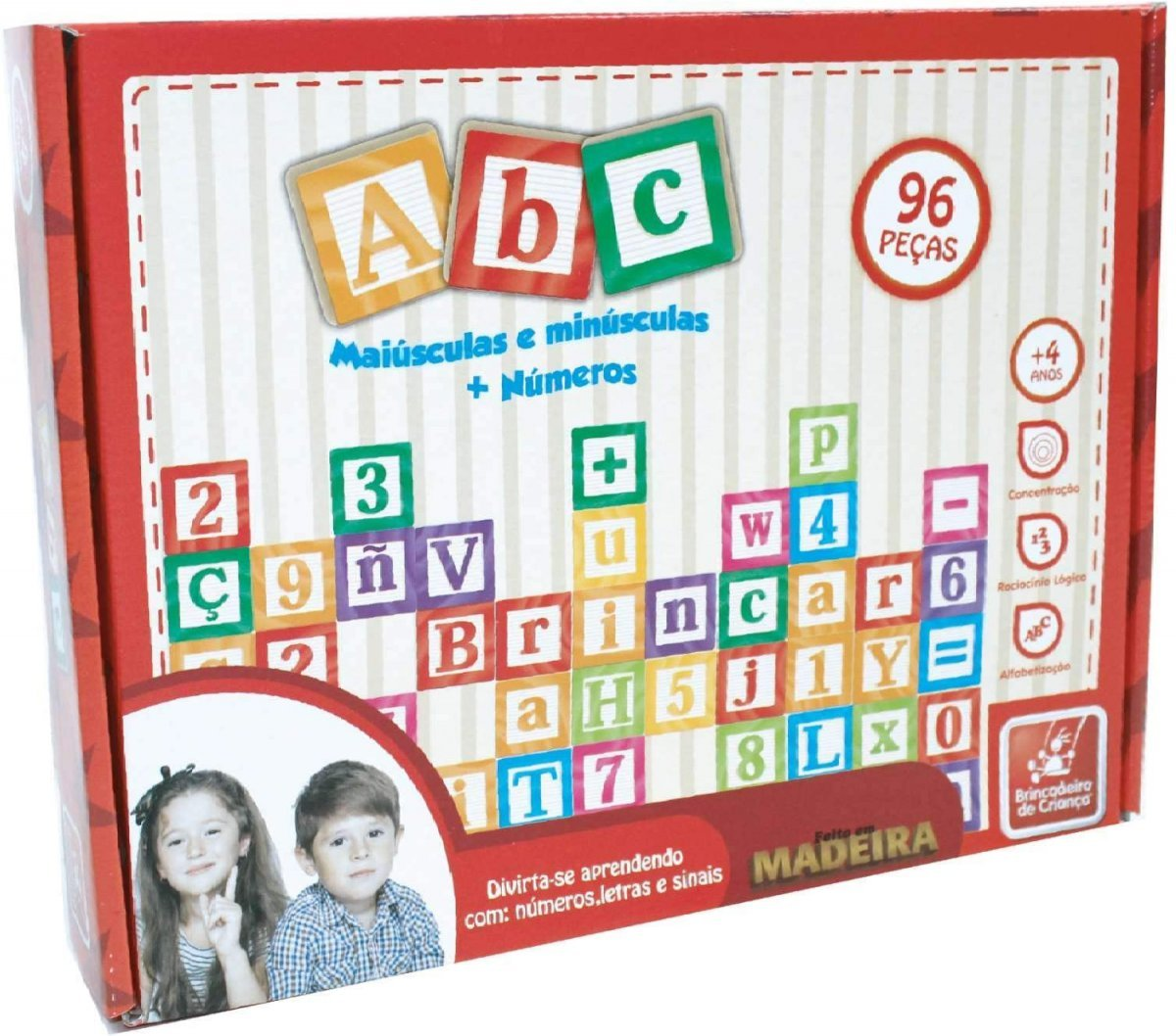 Jogo Educativo Montar Abc Letras Numeros Sinais 96 Pçs  - Brincadeira De Criança 8108