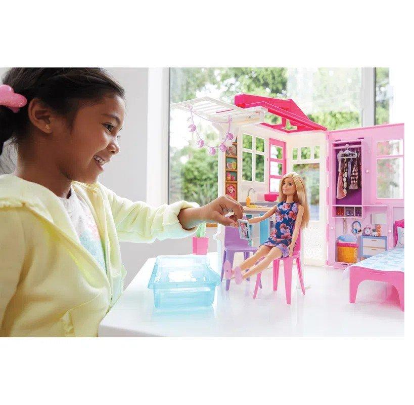 Playset E Boneca Barbie Casa Glamour Da Barbie - Mattel Fxg55