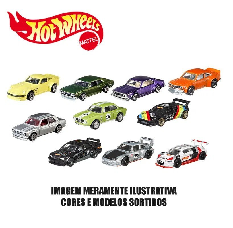 Kit 10 Carrinhos Básicos Sortidos Hot Wheels - Mattel 54886
