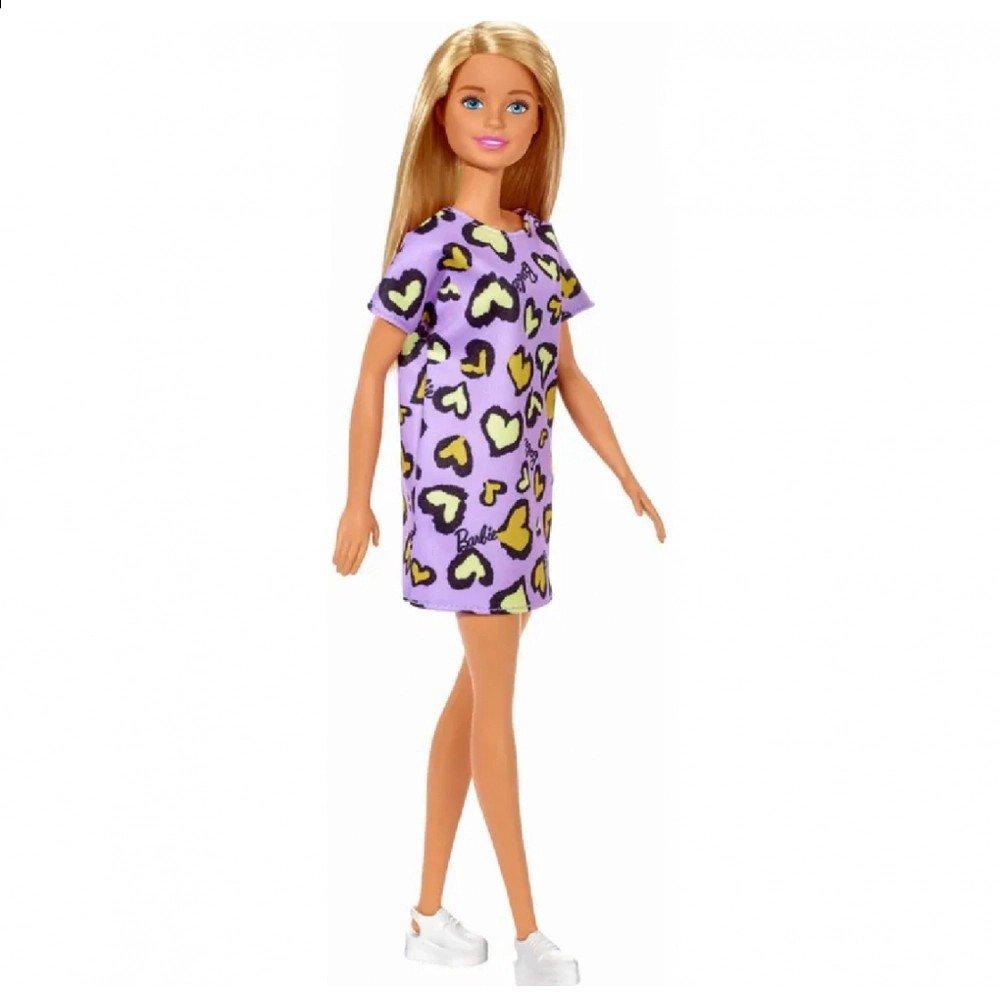 Boneca Barbie Fashion Loira Vestido Roxo - Mattel Ghw49